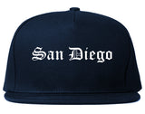 San Diego California CA Old English Mens Snapback Hat Navy Blue