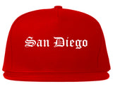 San Diego California CA Old English Mens Snapback Hat Red