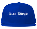 San Diego California CA Old English Mens Snapback Hat Royal Blue