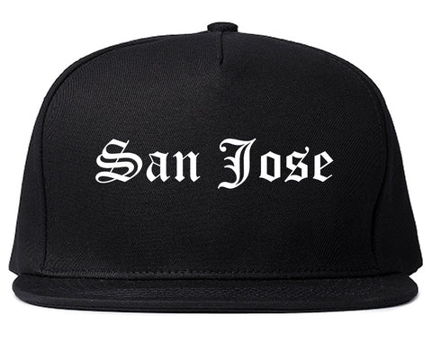 San Jose California CA Old English Mens Snapback Hat Black