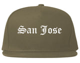 San Jose California CA Old English Mens Snapback Hat Grey