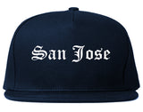 San Jose California CA Old English Mens Snapback Hat Navy Blue