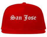 San Jose California CA Old English Mens Snapback Hat Red