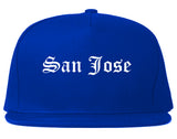 San Jose California CA Old English Mens Snapback Hat Royal Blue