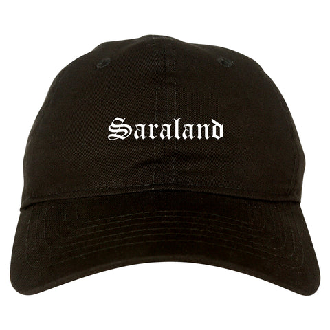 Saraland Alabama AL Old English Mens Dad Hat Baseball Cap Black