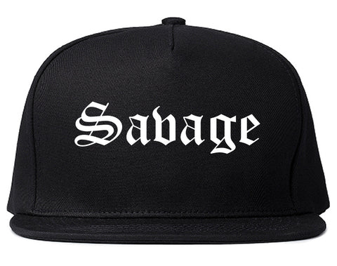 Savage Minnesota MN Old English Mens Snapback Hat Black