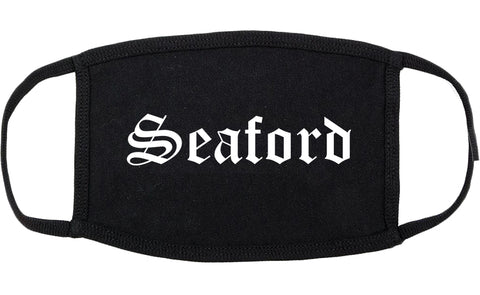 Seaford Delaware DE Old English Cotton Face Mask Black