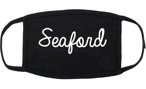 Seaford Delaware DE Script Cotton Face Mask Black