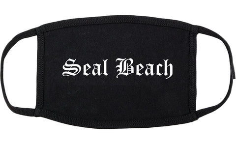 Seal Beach California CA Old English Cotton Face Mask Black