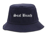 Seal Beach California CA Old English Mens Bucket Hat Navy Blue