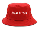 Seal Beach California CA Old English Mens Bucket Hat Red