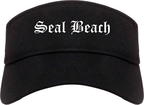 Seal Beach California CA Old English Mens Visor Cap Hat Black