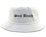 Seal Beach California CA Old English Mens Bucket Hat White