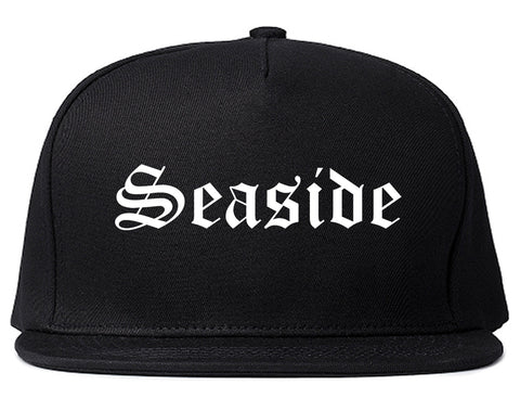 Seaside California CA Old English Mens Snapback Hat Black