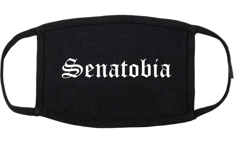 Senatobia Mississippi MS Old English Cotton Face Mask Black