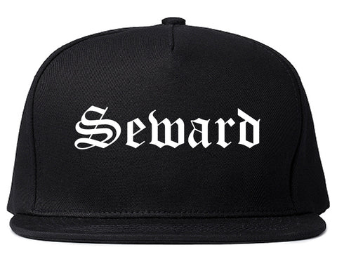 Seward Nebraska NE Old English Mens Snapback Hat Black