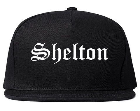 Shelton Connecticut CT Old English Mens Snapback Hat Black