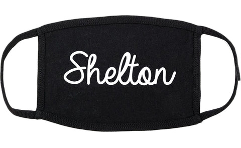 Shelton Connecticut CT Script Cotton Face Mask Black