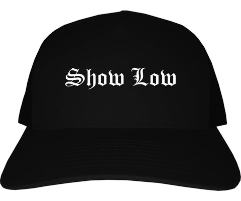 Show Low Arizona AZ Old English Mens Trucker Hat Cap Black