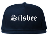 Silsbee Texas TX Old English Mens Snapback Hat Navy Blue