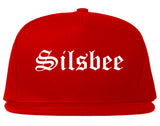 Silsbee Texas TX Old English Mens Snapback Hat Red