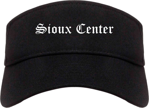 Sioux Center Iowa IA Old English Mens Visor Cap Hat Black