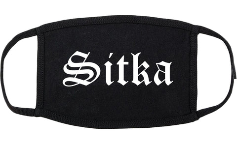 Sitka and Alaska AK Old English Cotton Face Mask Black