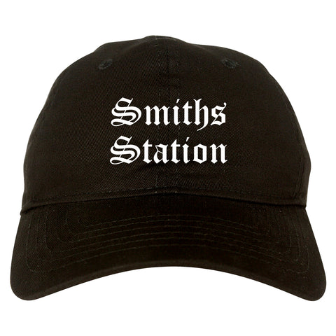 Smiths Station Alabama AL Old English Mens Dad Hat Baseball Cap Black