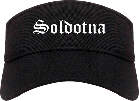 Soldotna Alaska AK Old English Mens Visor Cap Hat Black