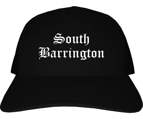 South Barrington Illinois IL Old English Mens Trucker Hat Cap Black