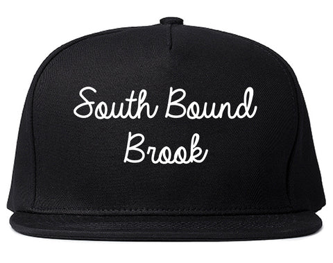 South Bound Brook New Jersey NJ Script Mens Snapback Hat Black