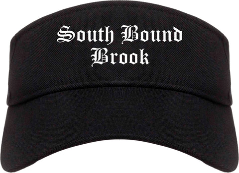 South Bound Brook New Jersey NJ Old English Mens Visor Cap Hat Black