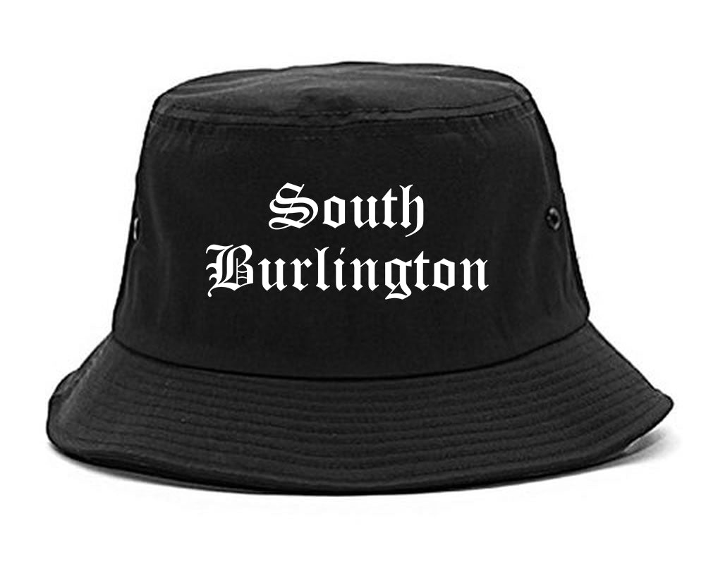 South Burlington Vermont VT Old English Mens Bucket Hat Black