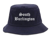 South Burlington Vermont VT Old English Mens Bucket Hat Navy Blue