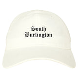 South Burlington Vermont VT Old English Mens Dad Hat Baseball Cap White