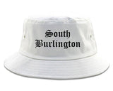 South Burlington Vermont VT Old English Mens Bucket Hat White