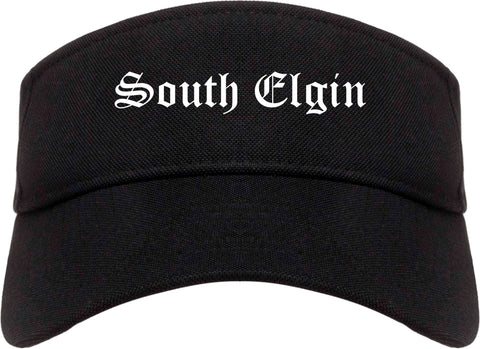 South Elgin Illinois IL Old English Mens Visor Cap Hat Black