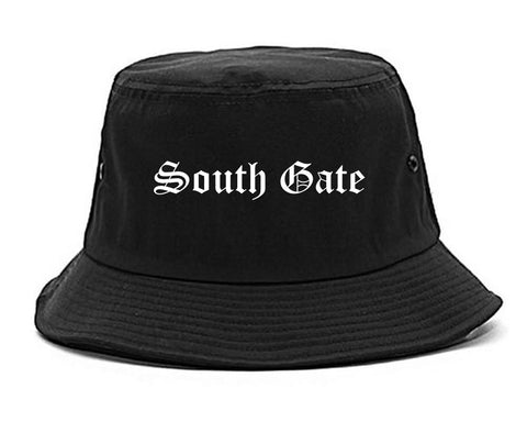 South Gate California CA Old English Mens Bucket Hat Black