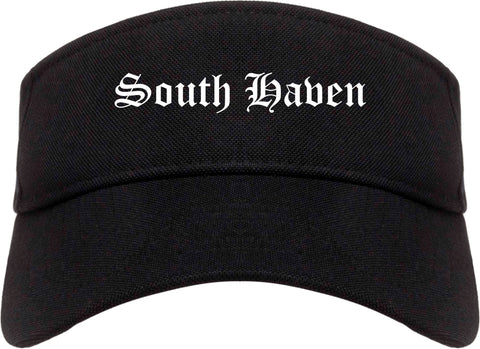 South Haven Michigan MI Old English Mens Visor Cap Hat Black