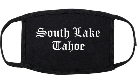 South Lake Tahoe California CA Old English Cotton Face Mask Black