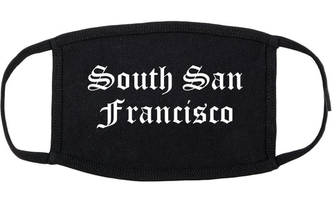 South San Francisco California CA Old English Cotton Face Mask Black