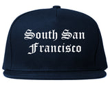 South San Francisco California CA Old English Mens Snapback Hat Navy Blue