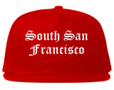 South San Francisco California CA Old English Mens Snapback Hat Red