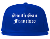 South San Francisco California CA Old English Mens Snapback Hat Royal Blue