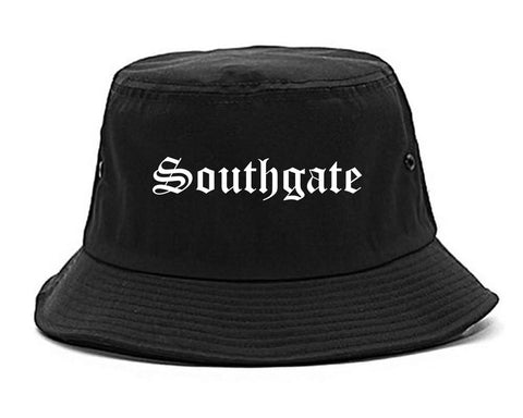 Southgate Michigan MI Old English Mens Bucket Hat Black