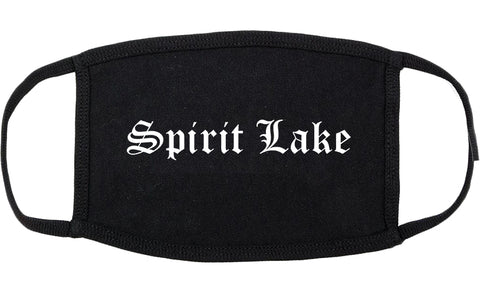 Spirit Lake Iowa IA Old English Cotton Face Mask Black