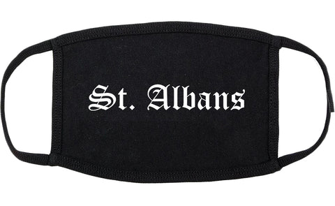 St. Albans Vermont VT Old English Cotton Face Mask Black