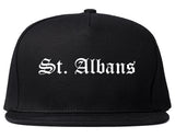 St. Albans Vermont VT Old English Mens Snapback Hat Black