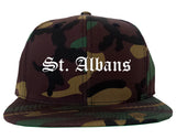 St. Albans Vermont VT Old English Mens Snapback Hat Army Camo