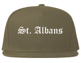 St. Albans Vermont VT Old English Mens Snapback Hat Grey